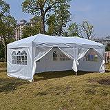 YUEBO Faltpavillon Wasserdicht Gartenpavillon, 3 x 6m Partyzelt Pavillon Festzelt mit 4 Seitenteilen für Garten/Party /Hochzeit/Picknick /Markt- Tragetasche inklusive Test