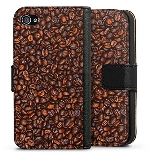 Apple iPhone X Silikon Hülle Case Schutzhülle Kaffee Bohnen Coffee Sideflip Tasche schwarz