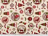 Festlicher Weihnachtsstoff, creme-rot-grün, 140cm