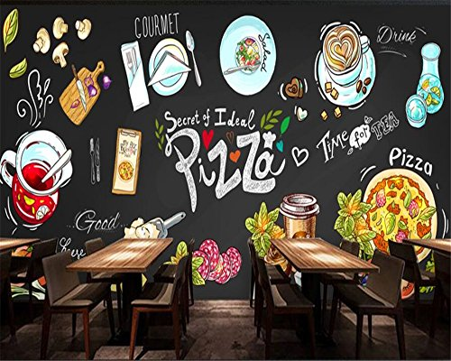 Minyose Customize any size wallpaper murals HD hand-drawn chalkboard pizza shop background wall mural photo 3D wallpaper-350cmx245cm Red Brick Pizza