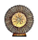 Dekoleuchte Design Deko Lampe Bintang Batur 30 cm hoch, Tischleuchte rund aus Naturmaterialien Rattan Zweige braun Muscheln weiß Steine schwarz