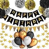 PushingBest Geburtstagsdeko, Kindergeburtstag Deko Set 42 Stück Dekoration Zubehör Safe Material Happy Birthday Girlande für Mädchen Jungen Männer und Frauen - Schwarz, Gold und Silber