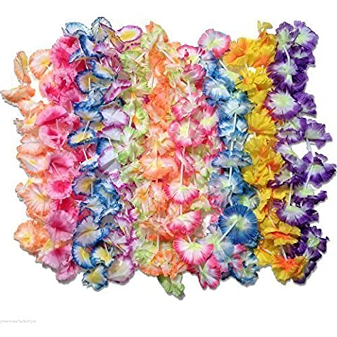 50 luau flower leis - jumbo carnation party pack fabric leis by Unknown