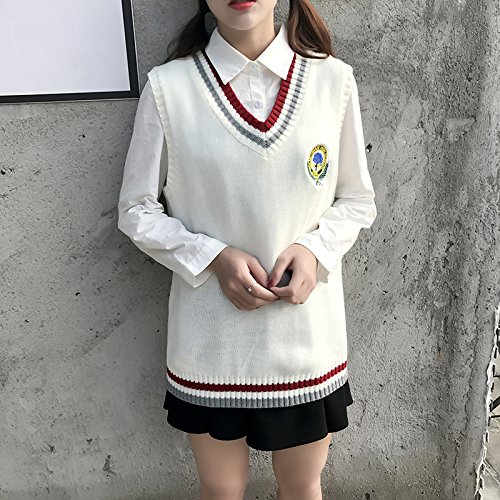 Offene Stich Pullover Weste (XuankuDie Girl-Ground Freizeitaktivitäten Der Schule Sleeveless V-Neck Pullover Weste Sind Yard Weiß)