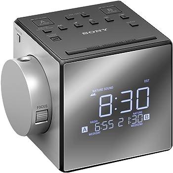 Sony ICF-C1PJ Radiosveglia AM/FM con Proiezione dell'orario, Argento