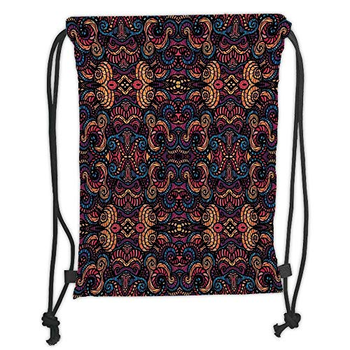Fashion Printed Drawstring Backpacks Bags,Bohemian,Hand Drawn Image with Oriental Rainbow Colored Floral Swirls Glass Pattern Image,Multicolor Soft Satin,5 Liter Capacity,Adjustable String Closure -