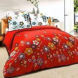 Fleurs I Story Rouge - SoulBedroom 100% Coton Parure de lit (Housse de couette & Taies d'oreiller 50x75 cm)