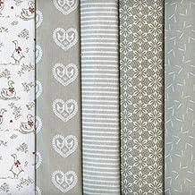 Textiles français Stoffpak - Set de telas - 5 telas (beige, gris, gris pardo y blanco) - Colección ENCANTO RÚSTICO (pequeños diseños) | 100% algodón | cada pieza 35 cm x 50 cm