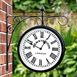 Outdoor Garden Kensington Station Outside Bracket Wall Clock 25cm Double  Sided