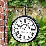 Orologio da giardino stazione di Kensington, orologio a parete per esterni di 25cm a doppia faccia