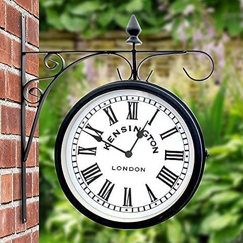 Horloge double face d'extérieur avec support mural style gare Kensington, 25cm