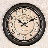 OLILEIOContinental Retro moderne, minimalistische kreative Persönlichkeit Mute Armbanduhr Quarzuhr amerikanische Schlafzimmer Wohnzimmer Uhr Second Hand (14 Zoll, 16 Zoll) ,16 Zoll, 17 Kurzwahleinträge