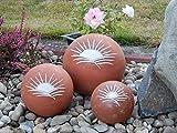 Tierurne – Kugel mit Sonnenmotiv aus frostfester Keramik, Blaugrau, Vol. ca. 0,45 Ltr. - 4