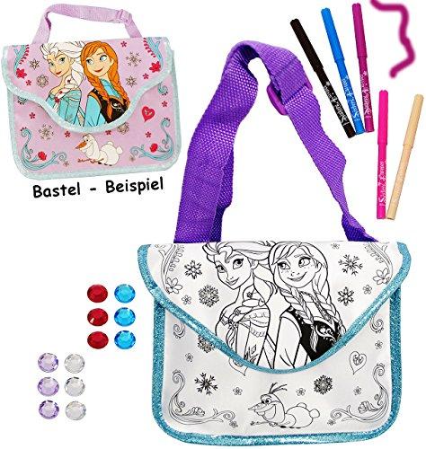 """Bastelset zum Bemalen - für Tasche / Henkeltasche / Tragetasche - """" Disney die Eiskönigin - Frozen """" - incl. Name - abwischbar groß + mit 5 Textilstifte - Kindertasche Tasche Stoff - für Mädchen - völ"""