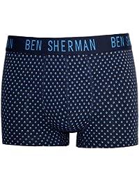BEN SHERMAN Mens Designer Navy Classic Woven Boxers Trunks 3 Pack Cotton 'Glen'
