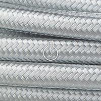 Amarcords - Câble électrique textile couleur ARGENT, rond, soie, 1 mètre, à 2 brins 2x0,75 - Fil vintage en tissu coloré…
