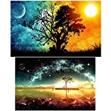 INSANY 2 Pack 5D Diamant Stickerei DIY Malerei Strass Rhinestone Kit, Kunsthandwerk Stich Zuhause Dekor Starry Sky and Sun & Moon.