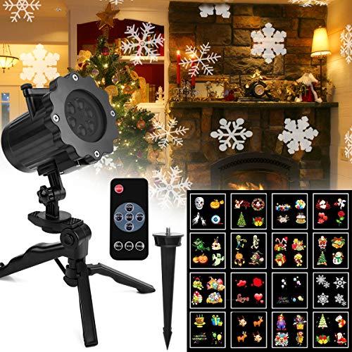 Projektor Licht Außen Fochea Garten LED Projektionslampe Weihnachtsprojektor Lichteffekt 16 Muster IP65 Wasserdicht Wand Dekoration für Weihnachten Halloween Geburtstag Aussen Innen mit Fernbedienung