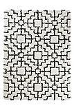 Tapiso RIO Teppich Shaggy Hochflor Langflor Geometrisches Orient Muster Creme Schwarz Weich Flauschig Wohnzimmer Schlafzimmer ÖKOTEX 80 x 150 cm