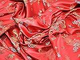 Chinesischer Satin Drache Brokat Kleid Stoff, Meterware,