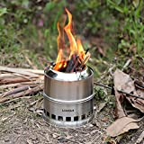 Lixada Portable Stainless Steel Lightweight Wood Stove Solidified Alcohol Stove Outdoor Cooking Picnic BBQ Camping with Mesh Bag