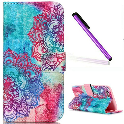 iPhone 6S Plus Wallet Hülle,iPhone 6S Plus Leder Hülle,iPhone 6S Plus Flip Hülle Leder Handy Tasche Wallet Case Flip Cover Etui,EMAXELERS iPhone 6 Plus Hülle Blumen,Elegant Rot Grilles Muster Schutzhü Angry Face Flower Series 11