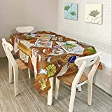 Decdeal 84 * 60'' Rectangular Dinner Table Cloth Polyester Printed Coffee Table Cover Tablecloths Home Decoartion