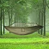 SKL portable haute résistance parachute Hamac avec Moustiquaire en tissu pour camping voyage Vert militaire