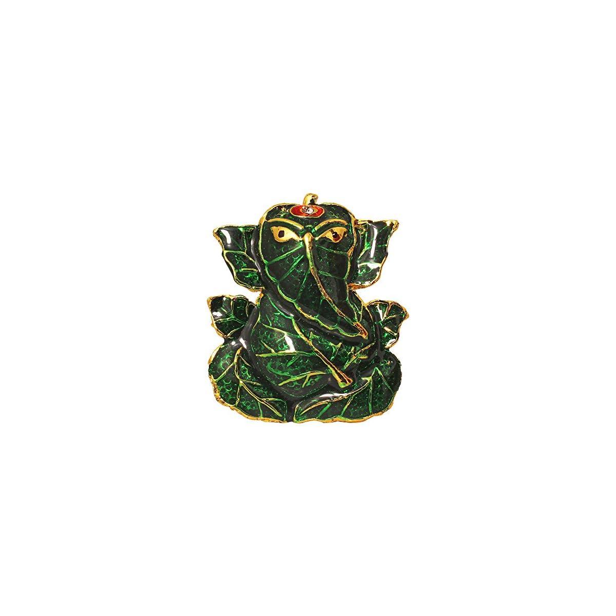 Brass Antique Look With Stones Hindu God Shri Ganesh Car Dashboard