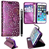 KAMAL STAR® NOKIA MICROSOFT LUMIA 535 PU LEDER LEATHER FLIP CASE COVER HÜLLE ETUI TASCHE SCHALE + STYLUS (Rose Purple Diamond Book)