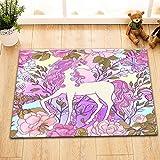 Pflanze,Butterfly,Blume,Pferd,Einhorn_Badematte für Kinder Rutschfeste waschbar weichen Dusche Teppich,40 X 60 CM