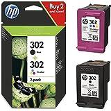 HP Envy 4574 HP302 Cartouche d'encre d'origine X4D37AE, 1noir F6U66AE, 1couleur F6U65AE