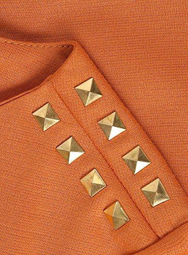 oodji Ultra Femme Robe avec Décoration Métalliques sur les Épaules Orange (5900N)