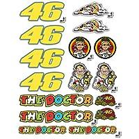 KIT Adesivi Stickers VALENTINO ROSSI THE DOCTOR 46 LOGO pannello intero 16pz OFFERTA motorino MOTO casco MOTOCICLETTA
