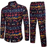 Homme Ensemble de Pyjama Festival Imprimé Fleuri,Overdose Autumn Hiver Slim Manches Longues Chemise Pantalon Skinny Casual Vintage Mariage Costumes (XL, Multicolore-3)