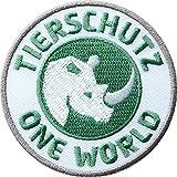 2er-Pack, Stick Abzeichen 60 mm rund / Tierschutz – One World / Nashorn Symbol für den Tier- und Artenschutz / gestickte Applikation Aufnäher Aufbügler Flicken Bügelbild / Iron on Patch für Kleidung Tasche Rucksack / save the planet