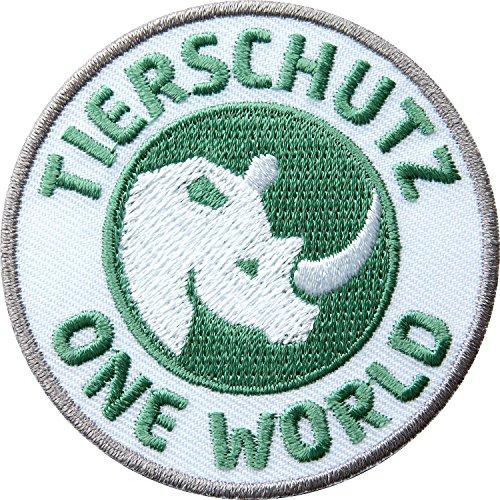 2er-Pack, Stick-Abzeichen 60 x 60 mm rund / Tierschutz – One World / Nashorn als Symbol für den globalen Tier- und Artenschutz / hochwertig gestickte Applikation Aufnäher Aufbügler Flicken Bügelbild / Patch für Mode, Sport, Kleidung, Tasche, Rucksack (Abzeichen Gestickte)