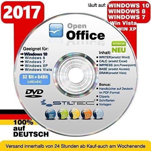 NEU : OPEN OFFICE 2017 für Windows 10 WINDOWS 8 Win 7 XP VISTA ersetzt Word Excel etc. Schreibprogramm Textprogramm ORIGINAL von STILTEC ©