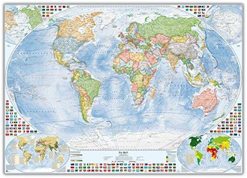 Politische Weltkarte mit 4 Nebenkarten als Pinnwand im silbernen Alurahmen, 140x100 cm, deutsch, Aktuell: Stand 2016 (Sprachen Weltkarte)