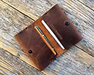 Brown leather wallet. Credit card, cash or ID holder. Rustic style unisex pouch.