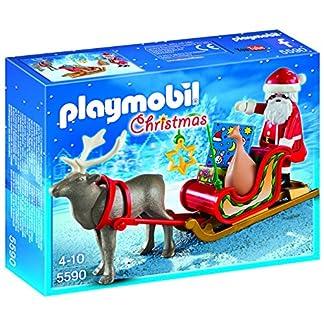 PLAYMOBIL – Christmas Trineo de Papá Noel con Reno Playsets de Figuras de jugete, Color Multicolor (5590)