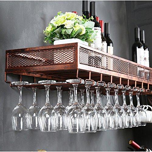 Europäischen Weinglas Halter Hängende Becher Halter Kreative Weinglas Halter Wandbehang Weinregal Eisen Rack Wand Weinregal (Farbe : Messing, größe : 80cm) -