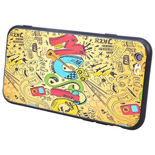 Yokata iPhone 6 Plus / iPhone 6s Plus Hülle Weiche Silikon Handyhülle 3D Motiv Schutzhülle TPU Handy Tasche Schale Etui Weich Silicone Bumper Ultra Dünn Slim Schlank Matt Handytasche Premium Kratzfest Music