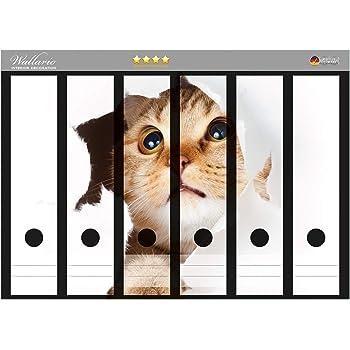 Wallario Ordnerrücken selbstklebend 8 schmale Ordner Katze mit Blick nach vorn