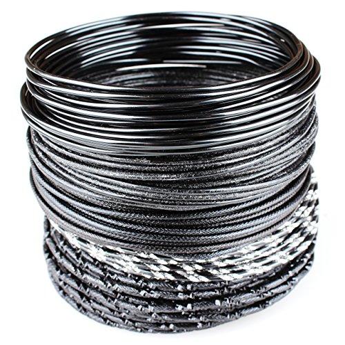 Goodwei Creacraft Schmuckdraht-Set Cool Black, 25m Aluminiumdraht Schwarz mit Verschiedenen Effekten (5m je Stil)