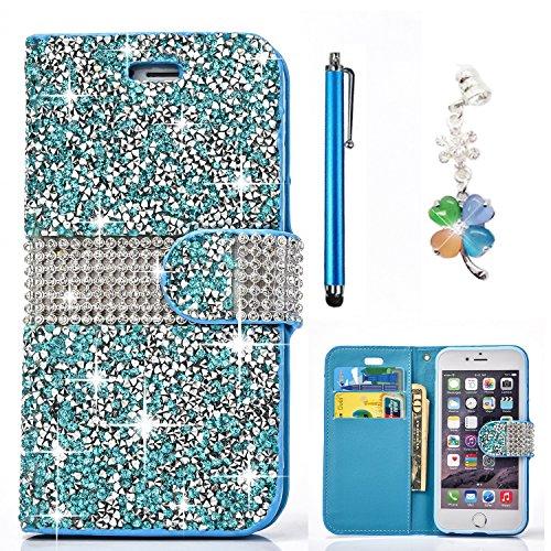 Magnetico Cover per iPhone X/iPhone 10, Pelle Wallet Perla Wallet Premium PU e Glitter Brillanti 3D Strass Cover - Bonice Custodia Morbido Case Libro Leather, Magnetico Flip Protettiva Portafoglio, ID Blu