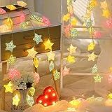 Cadena de luces LED con forma de estrella, 20 ledes, para interior y exterior, decoración de habitaciones, guirnalda de pilas