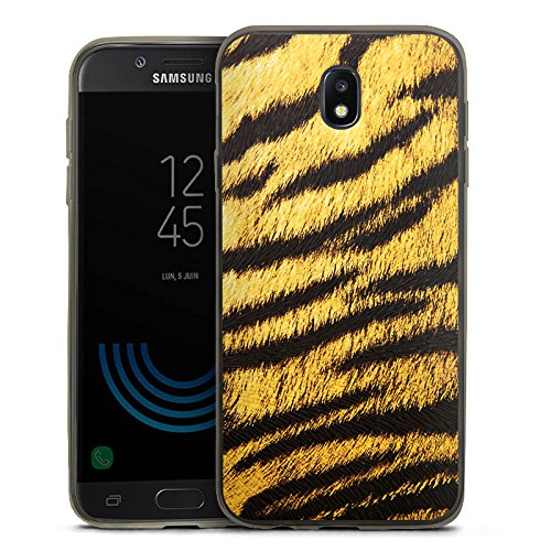DeinDesign Samsung Galaxy J5 2017 Slim Case transparent anthrazit Silikon Hülle Schutzhülle Tiere Animals Tiger Fell Look