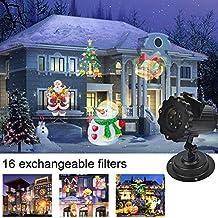 Éclairage LED Effet avec 16 Dessins LED Projecteur LED Flocon De Neige Lumières Imperméable IP44 Lumiere de Noël Projecteur Décoration Murale Éclairage de Jardin pour les Fêtes Noël Carnaval