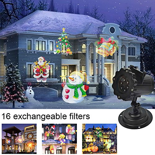 r mit 16 Motiven Led Projektionslampe Weihnachten Wasserdichte IP44 Wand Dekoration Lampe Christmas Lights für Garten,Weihnachten, Halloween, Geburtstag (Fernbedienung) (Freunde Halloween-szenen)
